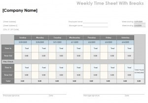Timesheet Calculator with Lunch Template