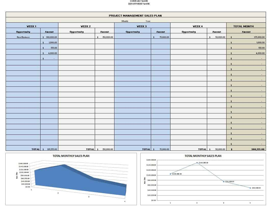 sales plan template excel