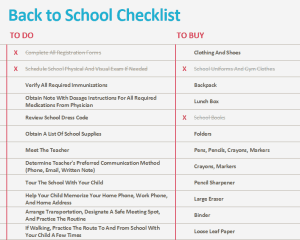 Children's Back to School Checklist Template