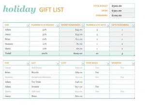 Holiday Gift List Template Excel Templates