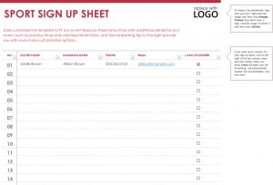 Sports Signup Sheet Template