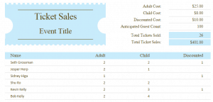 Ticket Sales Template from www.exceltemplatespro.com
