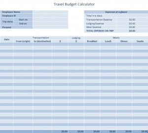 Travel Budget Template Excel Templates